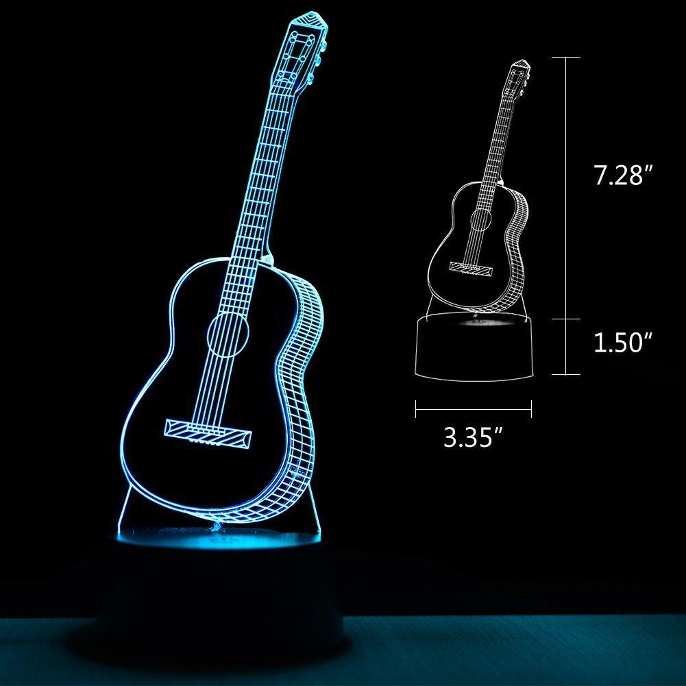 Guitarra Luces de Noche 3D LED USB Touch con 7 Luces de Escritorio de Iluminación óptica de Color para la Decoración de la Habitación de Los Niños: ...