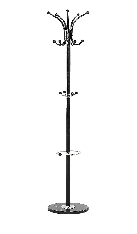 Maxx Waved - Perchero de pie (Metal, mármol, 173 cm, 14 Ganchos giratorios), Color Negro