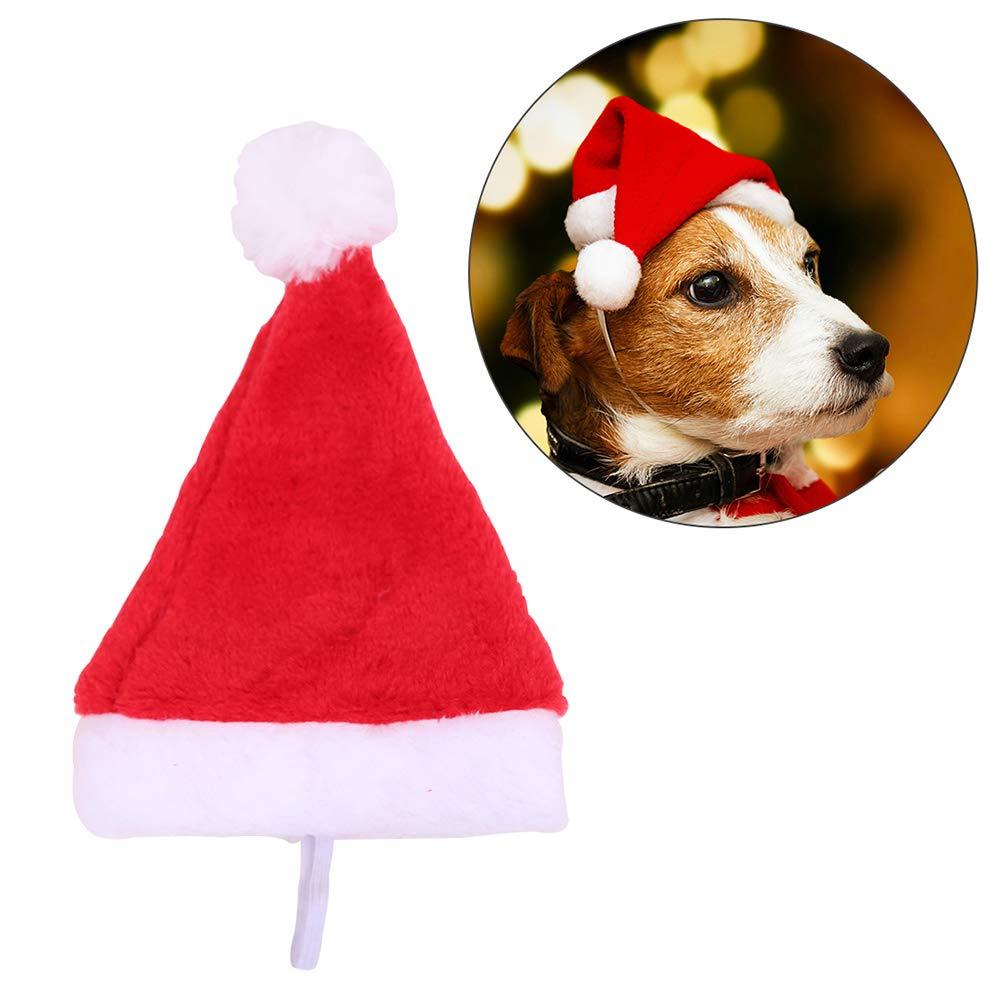 Kalaokei Haustier Hund Pl/üsch Nikolausm/ütze Weihnachten Urlaub Kost/üm Party Supplies Dekoration Weihnachten Geschenk