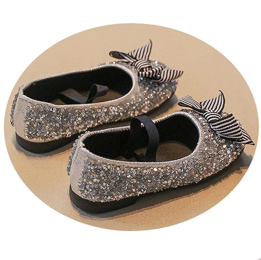 Full Win Girls Stripe Bow Rhinestone Elastic Strap Shiny Ballerina Flat Dress Shoes