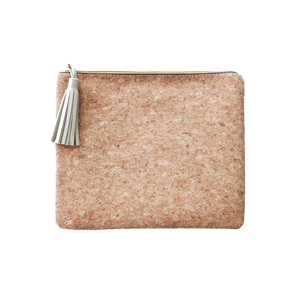 Cork Clutch Bag with Zippered Top and Gold Tassel Pull (No Monogram)