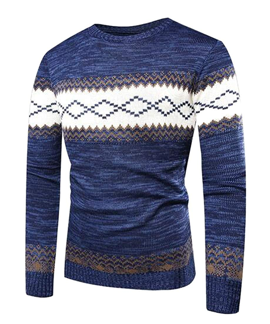 MOUTEN Mens Knitted Fashion Long Sleeve Slim Fit Print Pullover Sweater Jumper