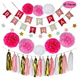 Parlie Pink Birthday Party Decorations, Birthday Party Supplies, Parlie 45pcs Party Decors and Supplies, Set includes Happy Birthday Banner, Paper Tassels, Pompoms and Garland Stars for Girls Pink