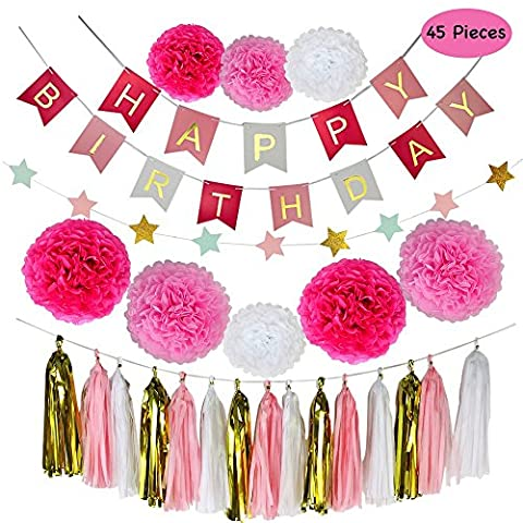 Birthday Party Decorations, Parlie 45pcs Party Decors and Supplies, Set includes Happy Birthday Banner, Paper Tassels, Pompoms and Garland Stars for - Party Supplies