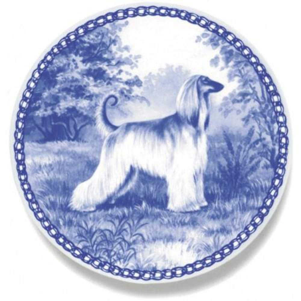 Afghan Hound - Dog Plate made in Denmark from the finest European Porcelain. Premium Quality and Design from Lekven. Perfect Gift For all Dog Lovers. Size - 7.61 inches.