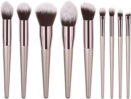 UINGKID - Juego de 10 brochas de maquillaje, brochas de maquillaje profesionales con asas de plástico, fibras sintéticas flexibles para base de maquillaje, pinceles para colorete, polvo: Amazon.es: Belleza