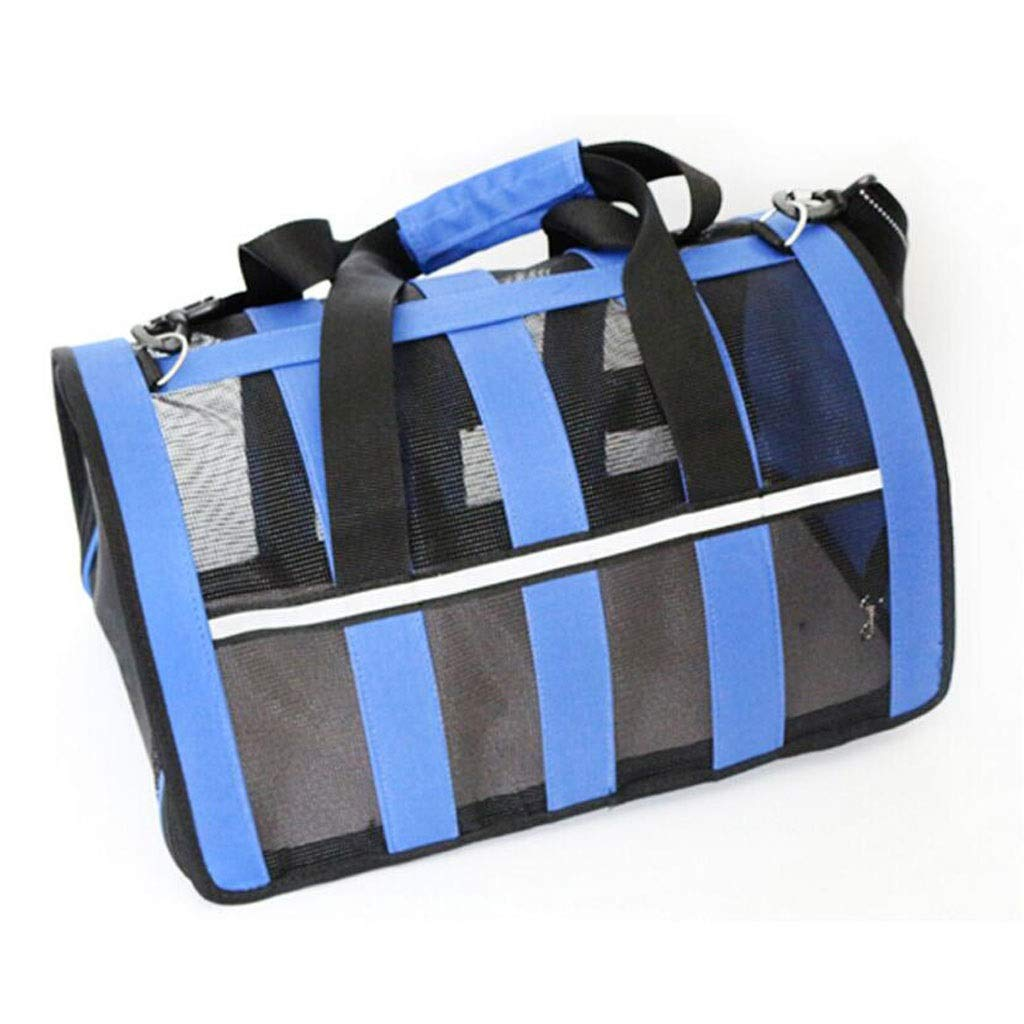 bluee 482626cm bluee 482626cm FJH Pet Box Ventilation Cage Cat Dog Shoulder Diagonal Portable Travel Transport Car Out Of Consignment 3 colors (color   bluee, Size   48  26  26cm)