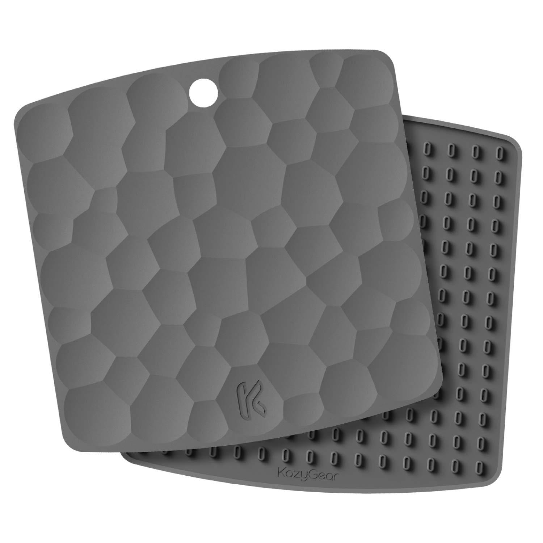 KozyGear Premium 227°C Heat Resistant Silicone Trivet Mats, 17 x 17 cm (2 Sets) Hot Insulation Pads, Hot Pan Pot Holder, Spoon Rest, Bottle Jar Opener, Oven Mitt, Non-Slip, Flexible, Waterproof, Durable (Blue [Z-3])