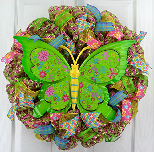 Summer Spring Butterfly Door Wreath; Pink, Lime Green, Yellow, Turquoise