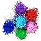 SamuRita Assorted Sparkle Glitter Pom Poms Balls for Arts Craft Kids DIY Accessories(1.3 Inch,30mm- 100 Pack)