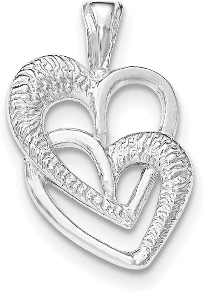 .925 Sterling Silver 2 Hearts Chain Slide Charm Pendant