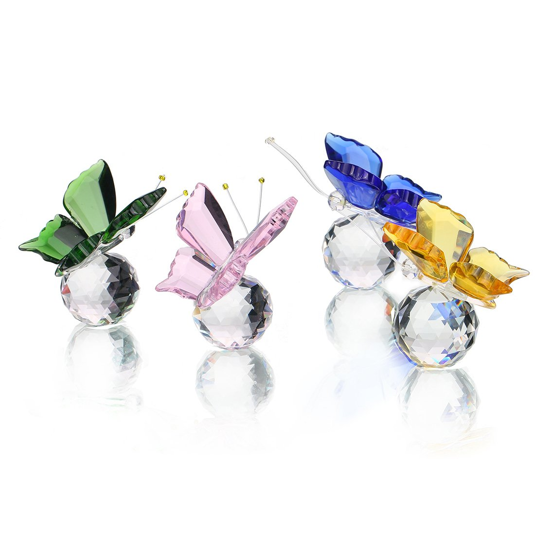 H&D, soprammobile di cristallo a forma di farfalla che vola, con sfera di cristallo alla base, da collezione, ornamento di vetro, statua, confezione di 4 animali collezionabili H&D Crystal Manufacture CO. LTD
