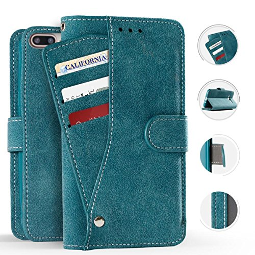 (AccessoryHappy Premium Luxury Suede Leather Wallet Credit Card Case Cover Folio ID & Credit Card Pockets iPhone 7 Plus 8 Plus (Blue))