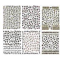 Yigo 6 Sheet Assorted Color Leopard Print Nail Art Stickers Self-adhesive Nail Tip 3d Design Nail Decals DIY Nail Decoration Tools