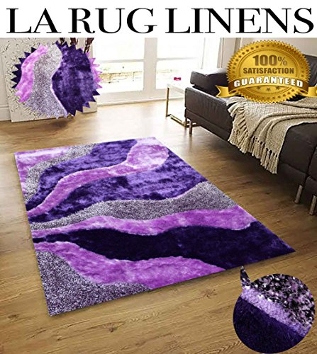 LA RUG LINENS HUGE BLOWOUT SALE New 5x7 Light Purple Dark Purple Lavender Lilac Violet Two-Tone Luxurious 3D Shaggy Shag Fuzzy Flokati Fluffy Furry Viscose Yarns Hand Tufted Rug Carpet (New L3 Purple) price