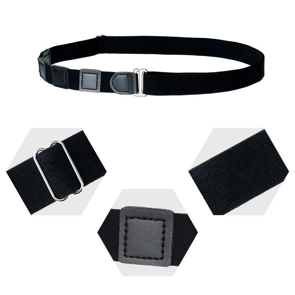 BKpearl 4 Pcs Mens Shirt Stay Black Tuck It Belt Shirt Lock Belt Adjustable Elastic Shirt Holder for Formal