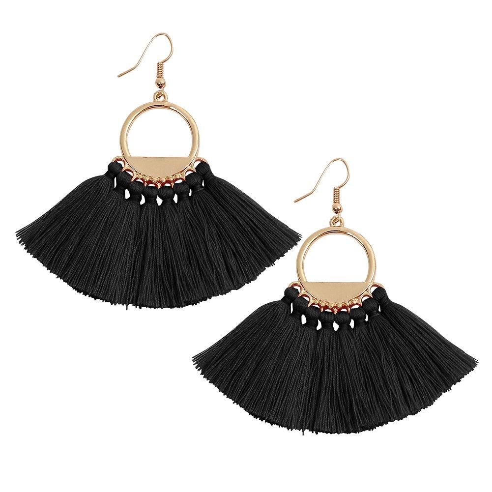 Womens Bohemian Tassel Earring Tassel Dangle Stud Ethnic Earrings