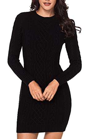 3357bfd420b LaSuiveur Women s Slim Fit Cable Knit Long Sleeve Sweater Dress at ...