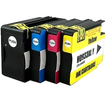 Cartuchos de tinta compatible con HP 932 XL y 933 XL, 4 unidades ...