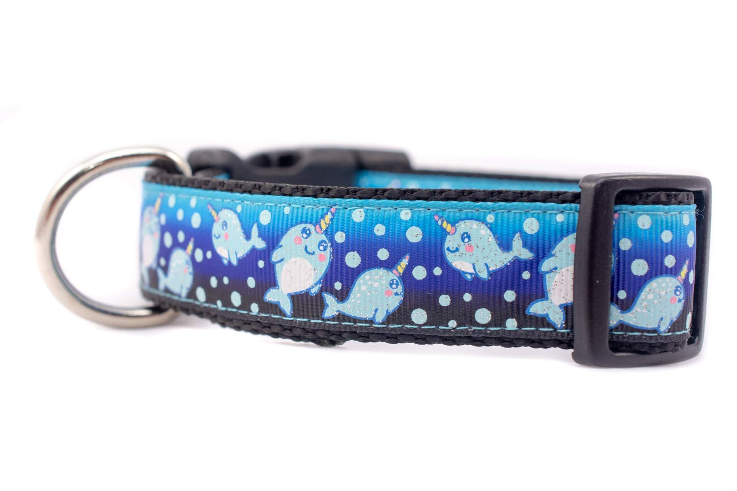Narwhal Dog Collar 1 inch or 1.5 inch wide Nautical