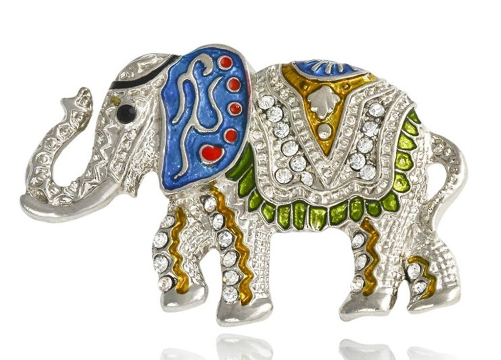 Epinki Women Brooch, Stainless Steel Elephant Brooches and Pins Wedding Brooch Silver