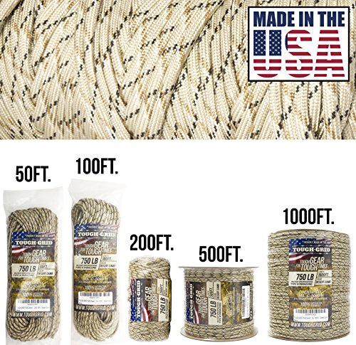TOUGH-GRID 750lb Desert Camo Paracord/Parachute Cord - Genuine Mil Spec Type IV 750lb Paracord Used by The US Military (MIl-C-5040-H) - 100% Nylon - Made in The USA. 50Ft. - Desert Camo ()