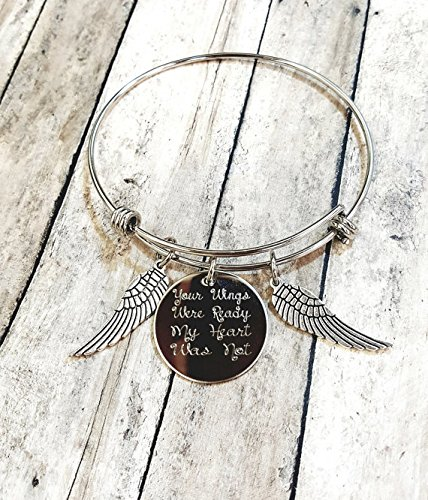 Your Wings Were Ready My Heart Was Not Charm Bracelet Memorial Gift Loss of Loved One, Wings with Heart Grief Jewelry ()