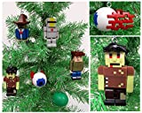 "Terraria Christmas Tree Ornament Set Featuring Silver Armor, Guide, Zombie, Tim, Demon Eye and Slime, Ornaments Average 1"" to 3"" Tall"