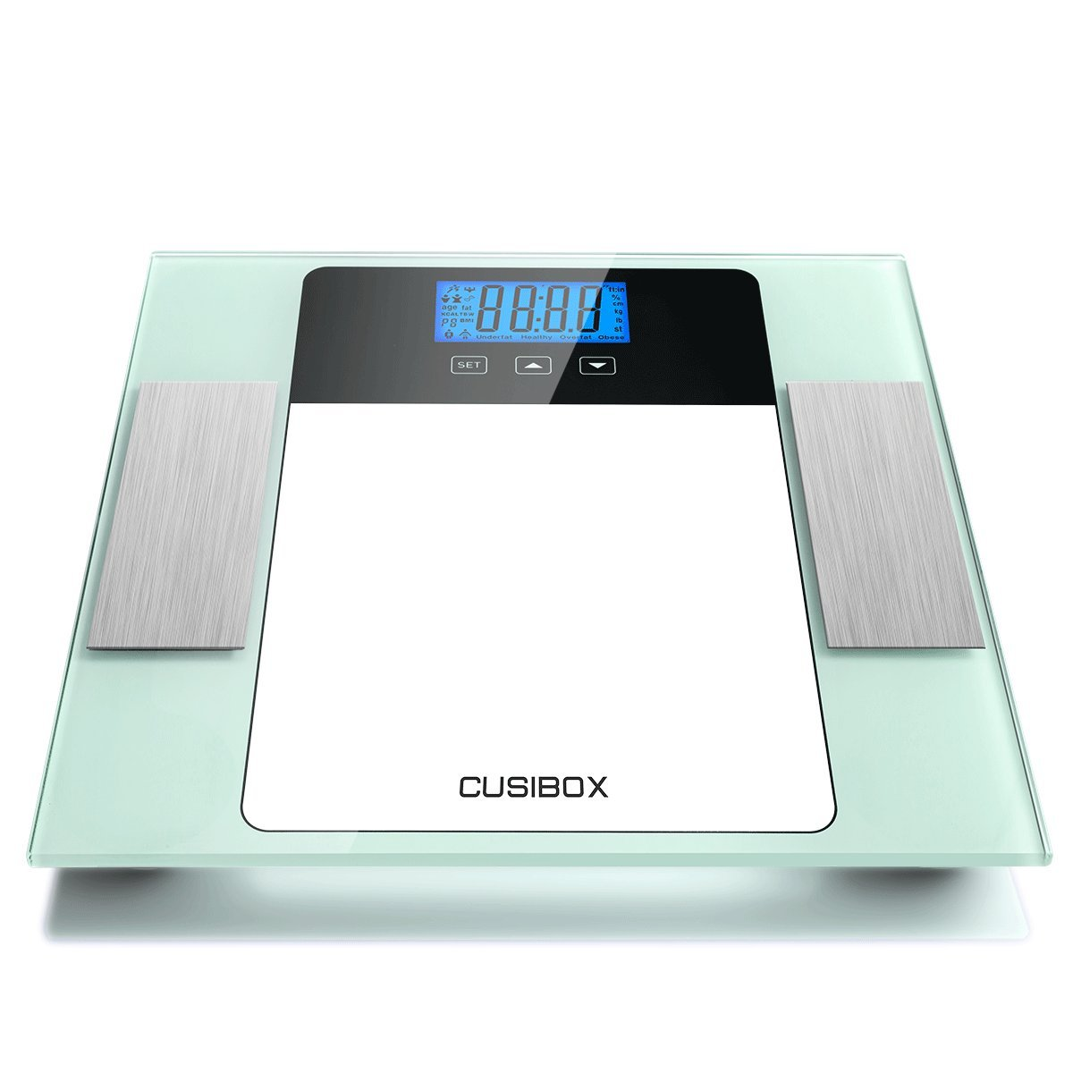 Digital Body Weight Bathroom Scale by CUSIBOX, Highly Accurate Digital Bathroom Body Scale with Step-on Technology, Body Weight Measure, Tempered Glass, 10 Users Memory Mode