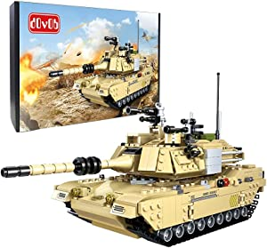dOvOb Armed Tanks Building Block(923 PCS),WW2 Military M1A2 Abrams Tank Model with 6 Soldier Figures,Toys Gifts for Kid and Adult