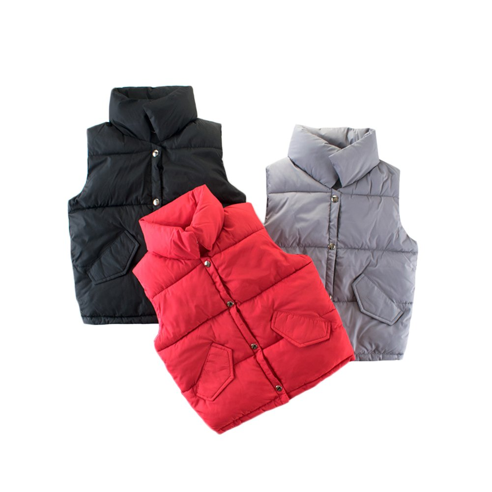 KISBINI Big Boys Stand Collar Warm Vests Autumn and Winter Coats Black 9T by KISBINI (Image #6)