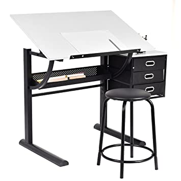 tangkula drafting table art u0026 craft drawing desk art hobby folding adjustable w stool