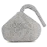 Women Evening Wedding Clutch Triangle Design Rhinestones Purse Handbag for Party Prom (Silver)