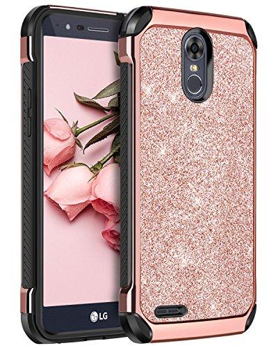 LG Stylus 3 Plus Case, LG Stylo 3 Case, LG Stylo 3 Plus Case, BENTOBEN Glitter 2 in 1 Hybrid Hard PC PU Leather Shockproof Protective Phone Case for LG Stylo 3/Stylo 3 Plus/LG LS777, Rose Gold/Black