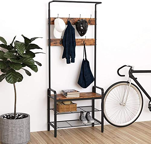 IRONCK Industrial Hall Trees with Bench and Coat Racks, 3-in-1 Hall Tree Entryway Storage Shelf, Accent Furniture with Metal Frame, Easy Assembly, Rustic Brown
