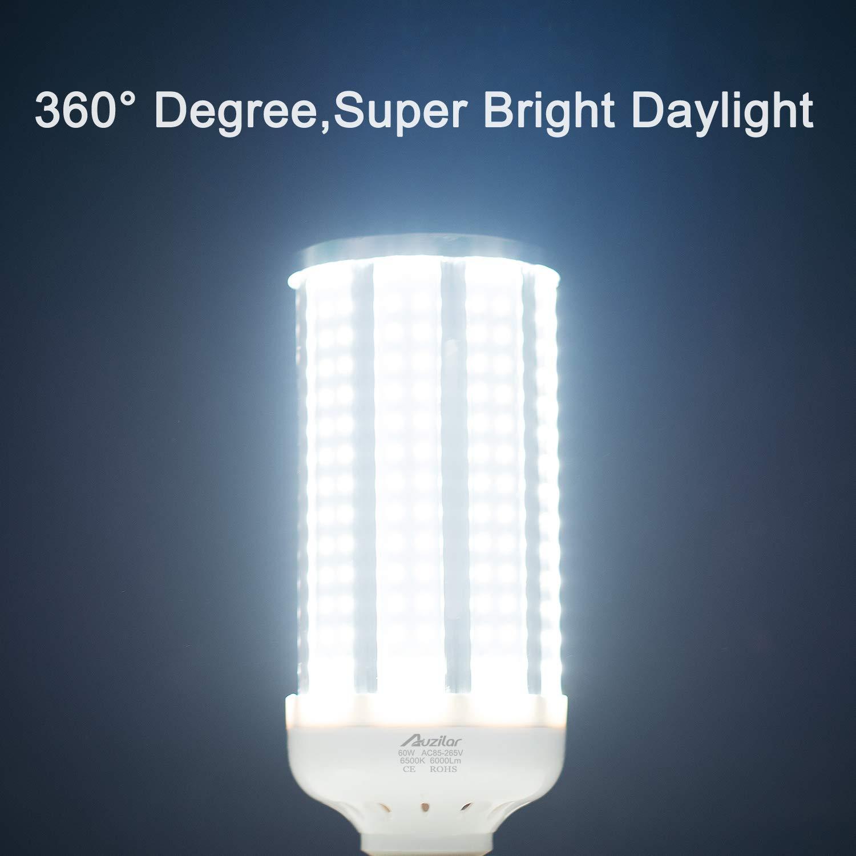 2-Pack(450W Equivalent)LED Corn Light Bulb 6000 Lumen 6500K 60W Large Area Cool Daylight White E26//E27 Medium Base for Outdoor Indoor Garage Warehouse Factory Workshop Street Backyard New Upgraded