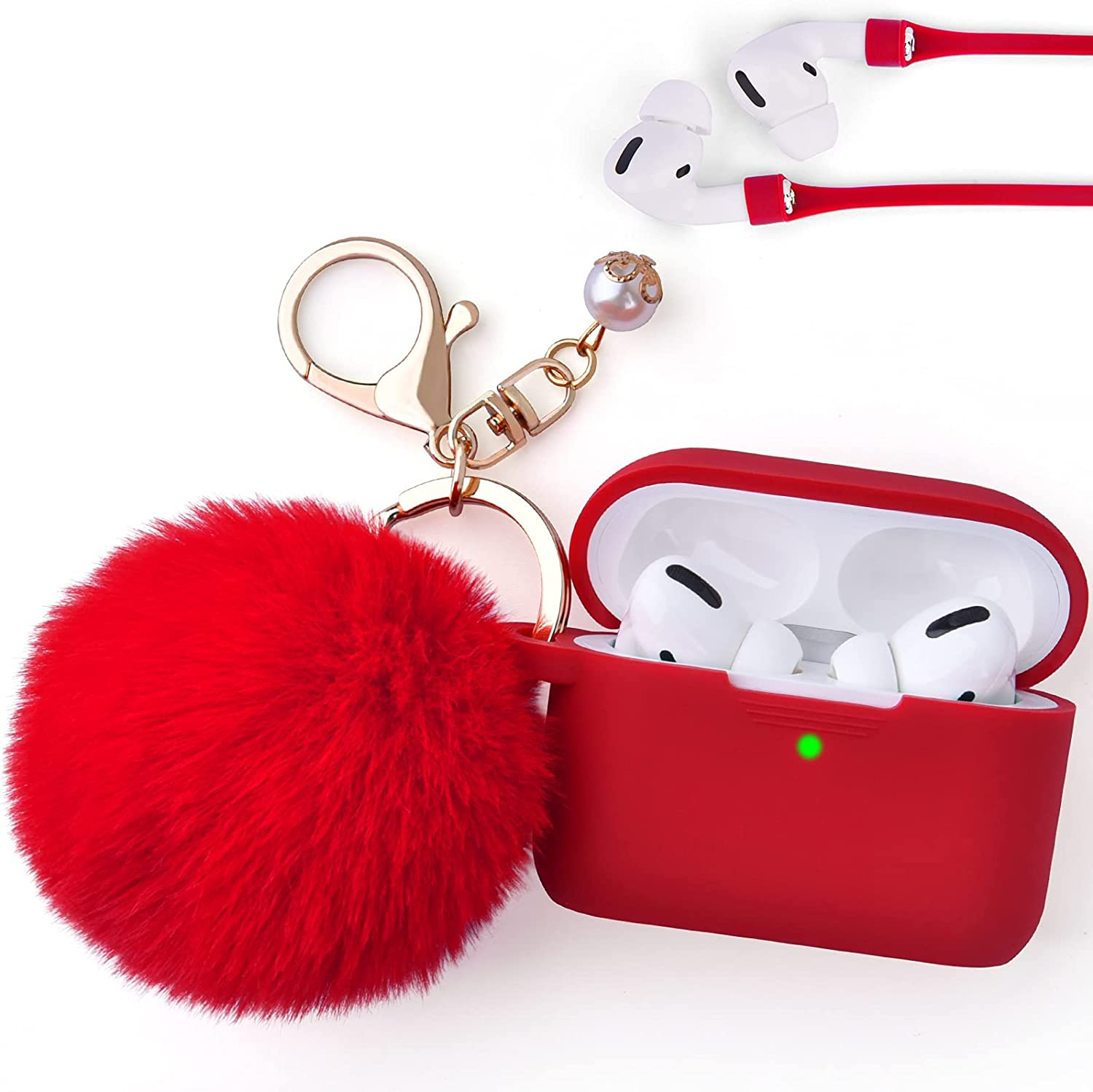 Case for Airpods Pro, Filoto Airpod Pro Case Cover for Apple AirPods Pro Wireless Charging Case, Cute Air Pods 3 Case Silicone Protective Accessories Keychain/Pompom/Strap (Red)