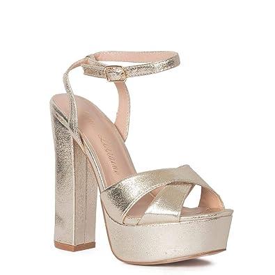 4a5fbaed61 Lauren Lorraine Carla Gold High Heel Platform Pump Ankle Strap Open Toe  Sandal (5.5)