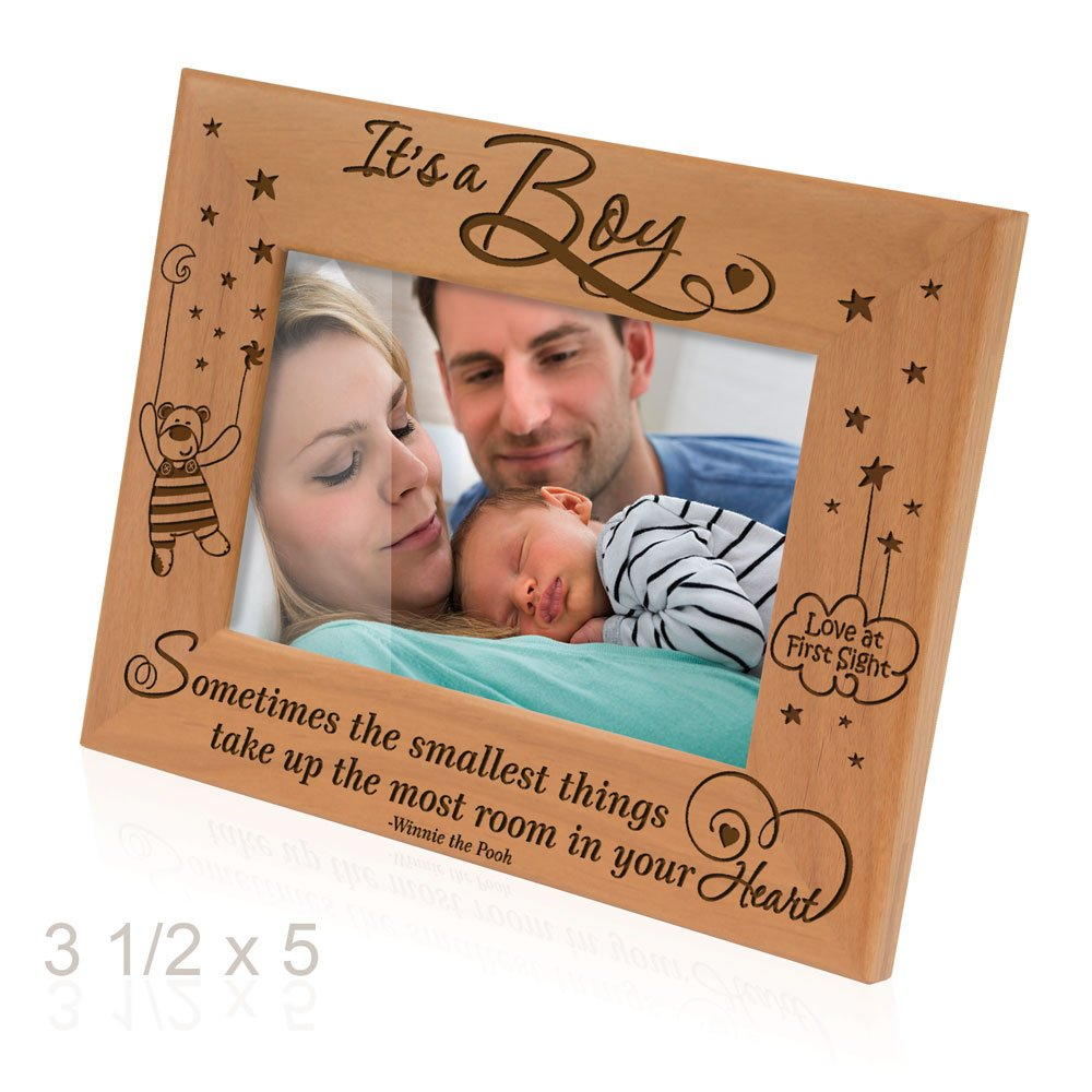 Kate Posh Sometimes the smallest things take up the most room in your heart - Winnie the Pooh Sonogram Picture Frame (3 1/2 x 5 Horizontal - It's a Boy) by Kate Posh (Image #2)