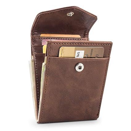 BAGZY Carteras Monederos Bloqueo RFID Tarjeta de Crédito Tarjetero de PU Cuero Billetera Doblada Bolsillo Monedas Tarjetas Hombre Cartera Pequeña ...