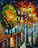 100% Hand Painted Oil Paintings Modern Abstract Art Oil Painting The Street in the Rain Home Wall Decor (20X28 Inch, Wall Arts 13)