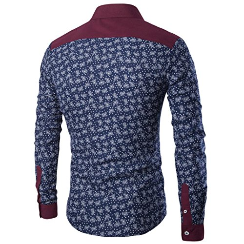 Navy Shirt Top manica Aimee7 Fit Casual Uomo stampata Camicia Slim Business lunga Casual Funky 4ZqnFEqOw
