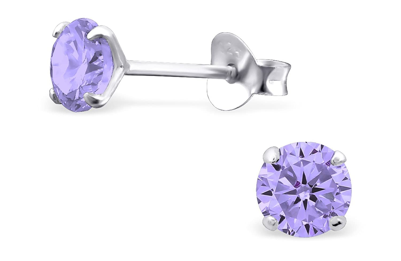 Hypoallergenic Sterling Silver CZ Crystal Birthstone Earrings for Little Girls (Nickel Free) Penny & Piper 601982263096