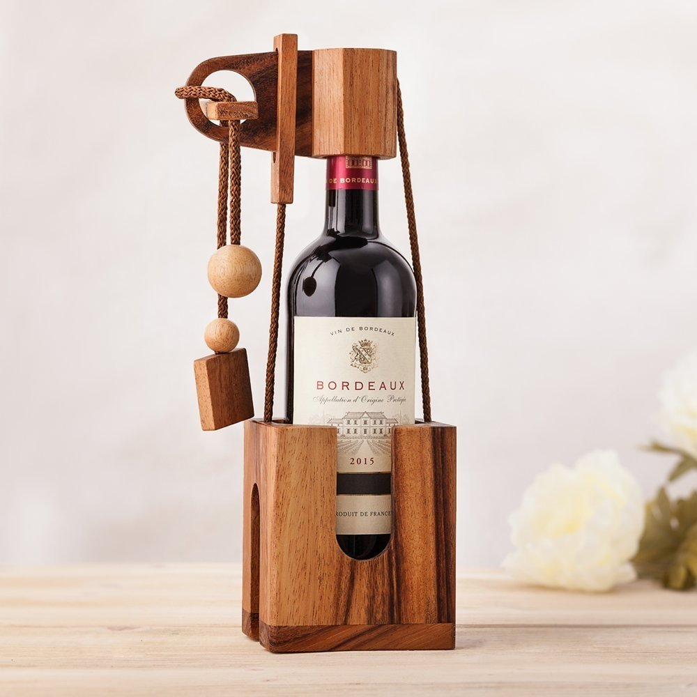 Accessorio del vinoNon rompere la bottiglia - un Puzzle in legno | Rompicapo | Per confezionare bottiglia speciale [ARTUROLUDWIG]