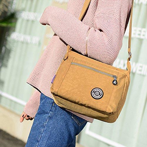 MeCooler Bolso Bandolera Mujer Bolsos Baratos de Moda Bolsos Grandes Impermeable Vintage Bolsas de Viaje para Escolares Messenger Bag Sport Tablet Nylon Rojo One