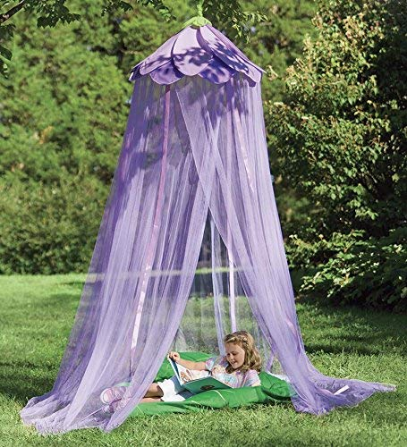 HearthSong® Secret Garden Hideaway Bed Canopy Hanging Play Tent for Kids Bedroom, 7' H with 12' Bottom Circumference - Purple