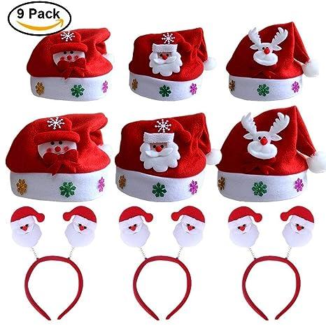 9 pack Cappello Babbo Natale Cappellino a Taglia Unica per Adulti ... d927f1aa2a86