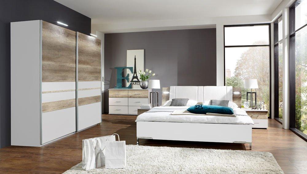 3-tlg. Schlafzimmer in alpinweiß mit Abs. in Wildeiche-Nachb., Schwebetürenschrank Breite: 225 cm, Futonbett 180 x 200 cm, 2 Nachtschränke