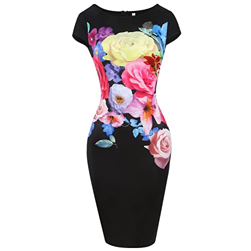 ANRABESS Women Patchwork Floral Print Knee-length Pencil Wear To Work Dress