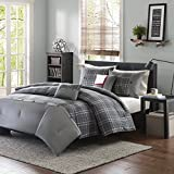 5 Piece Boys Grey Tartan Plaid Theme Comforter Full/Queen Set, Beautiful Madras Checkered Pattern, Lodge Cabin Hunting Themed, Classic Country Style, Printed Reversible Bedding, vibrant Colors